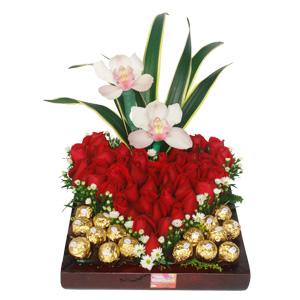 ilimitado rosas rojas con hoja espada aster orquideas blancas y ...